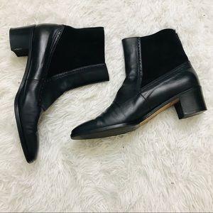 Salvatore Ferragamo Leather Ankle Block Boots